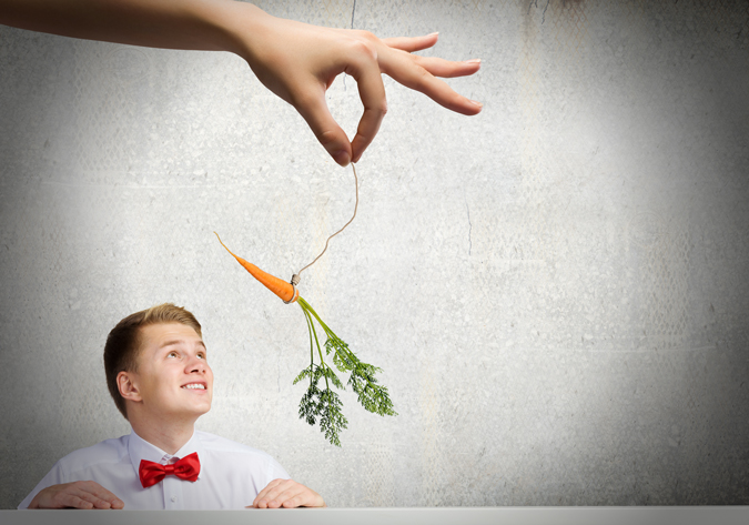 someone dangling a carrot in front of a man